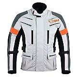Jet Motorradjacke Herren Mit Protektoren Textil Wasserdicht Winddicht Silber Grau (M (EU 48 - 50))