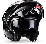 "Moto Helmets® F19 ""Gloss Black"" · Motorrad-Helm · Klapp-Helm Modular-Helm Flip-up Integral-Helm Motorrad-Helm Roller-Helm Sport · ECE 22.05 Sonnenvisier Schnellverschluss Tasche M (57-58cm)"