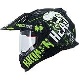 Broken Head Bone Crusher Cross-Helm Grün mit Visier - Enduro-Helm - MX Motocross Helm mit Sonnenblende - Quad-Helm (S 55-56 cm)