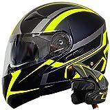 Klapphelm Integralhelm Helm Motorradhelm RALLOX 109 schwarz neon gelb grün matt mit Sonnenblende (S, M, L, XL) Größe XL