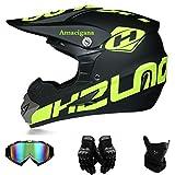 Amacigana® Motocross Helme Downhill Helme Motorrad Crosshelme & Endurohelme Jugend Kinder Offroad Helm Motocross Gear Combo Mask Brillenhandschuhe (Style #01, L)
