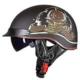 Halbhelm Motorradhelm Herren Damen Brain Cap Retro ECE Zertifizierung Motorrad Halbschale Helm Jethelm Rollerhelm Halbschalenhelm Chopper Scooter Helm Sturzhelm mit Visier