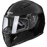 Nexo Integralhelm Motorradhelm Helm Motorrad Mopedhelm Basic II, herausnehmbares Komfortpolster, Be- und Entlüftung, Nasen-, Kinnwindabweiser, klares Visier, Ratschenverschluss, Schwarz, M