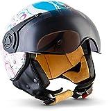 "Moto Helmets® H44 ""Flower"" · Jet-Helm · Motorrad-Helm Roller-Helm Scooter-Helm Bobber Mofa-Helm Chopper Retro Cruiser Vintage Pilot Biker Helmet · ECE Visier Schnellverschluss Tasche XL (61-62cm)"
